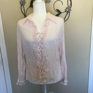 MK Solo Size 2 (M) sheer pink lace-up blouse.